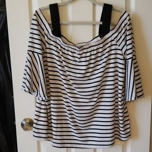 Black and White Stripped open shoulder Top